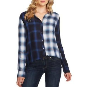 Vince Camuto Plaid Pattern Block Utility Shirt